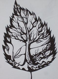It all starts with a great design... a 'tree within a leaf' is just that. This piece would make a great tattoo in either all black or my favorite, hues of henna coloured ink... subtle. Artwork by and found on vincentiuss.deviantart.com