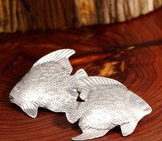 Earrings Sterling Silver Vintage EyeCatching HANDMADE Angel Fish 6.9g Post 1.6in #Handmade #Stud