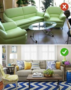 15 Living Room Design Mistakes and Solutions on How to Fix Them - Eddy Li - Indian Living Rooms Living Room Sofa Design, Living Room Styles, Living Room Furniture Arrangement, Living Room Designs, Indian Living Rooms, Small Living Rooms, Sala Indiana, Style Salon, Sala Grande