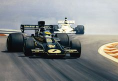 Ronnie Peterson, Lotus 72E wins the 1974 French GP. Mike Hailwood, McLaren M23 follows – Painting by Martin Tomlinson
