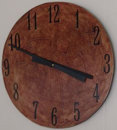 clock 18 inch hand painted hand textured wood by BeaverTailBoards, $36.00