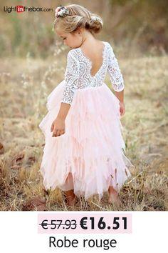 7d1ed5e5240   17.95  Enfants Fille Basique Quotidien Couleur Pleine Dentelle    Multirang Manches Longues Coton   Polyester Robe Rouge