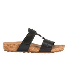 Black Penny Leather Slide