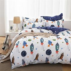 8b6048d676 HNNSI Cotton Space Kids Boys Bedding Sets 4 Piece Queen Size , Kids Duvet  Cover with Flat Sheets, Rocket Galaxy Comforter Cover for Children Teens ( Queen, ...