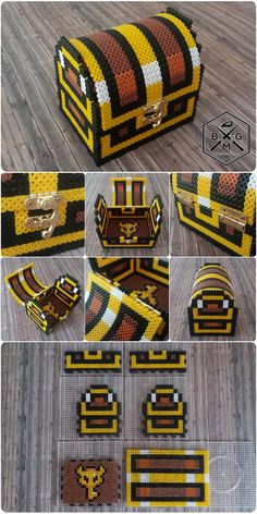 "Big 3D ""Legend of Zelda"" Treasure Chest - DIY Perler Beads - Beadsmeetgeeks"