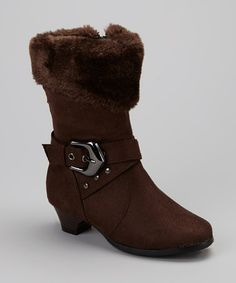 Take a look at this Brown Faux Fur Cuff Boot by Anna Shoes on #zulily today!