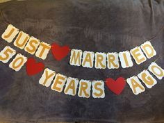 """Wedding Anniversary Banner """"Just Married 50 years ago"""" 50th Anniversary. Gold. Free Shipping"""