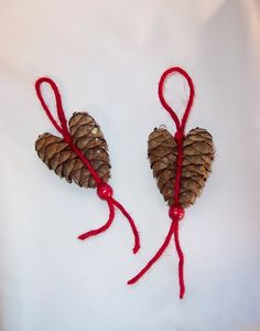 Rustic Pine Cone Red Heart Ornaments Set of Two Pinecone Ornaments, Santa Ornaments, Heart Ornament, Holiday Ornaments, Christmas Crafts, Holiday Decor, Handmade Christmas, Valentine Heart, Valentines