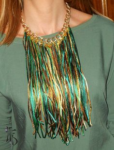 Fringe statement necklace in green brown and by HaveaFlowerDay