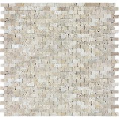 Split Face Beige Travertine Natural Stone Mosaic Subway Wall Tile (Common: 12-in x 12-in; Actual: 12-in x 11.87-in)
