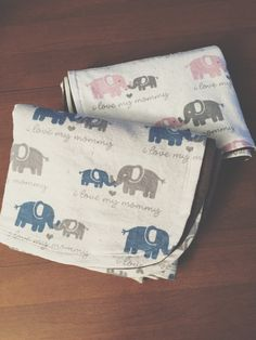 Elephant i love my mommy Flannel by DefinitelyBabyShop on Etsy