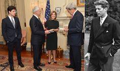 John F Kennedy's grandson John 'Jack' Schlossberg, left, with his mother Caroline Kennedy as she is sworn in as U.S. Ambassador to Japan wit...