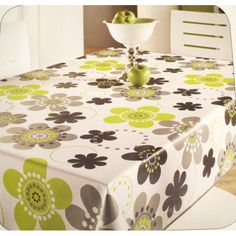 Black and Lime Retro Flowers on White Vinyl Oilcloth Tablecloth