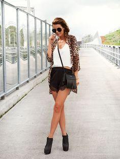 Nette nestea - leopard cardigan + sheinside crop top