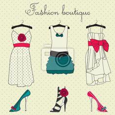 Carta da parati Moda set boutique, scarabocchi stilizzati