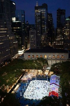 Bryant Park NYC free ice skating (bring a small lock for shoes,etc).