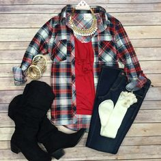 What I like about you Plaid Flannel Top: Red