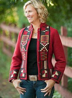 Ladies southwestern red telar jacket casual a line patchwork pleated skirt ezpopsy com Fall Fashion Outfits, Boho Fashion, Winter Fashion, Womens Fashion, Mundo Hippie, Black Wool Coat, Altering Clothes, Mantel, Jackets For Women