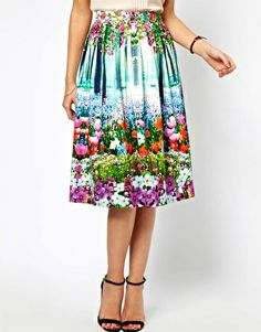 ASOS Midi Skirt In New Floral Print. This is elegant and gorgeous. Wear this to your next wedding or garden party!