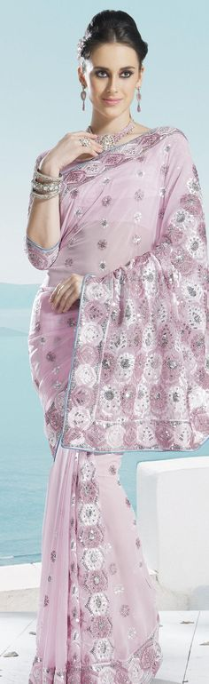 $61.74 Pink Faux Georgette Embroidery Saree 16674 With Unstitched Blouse