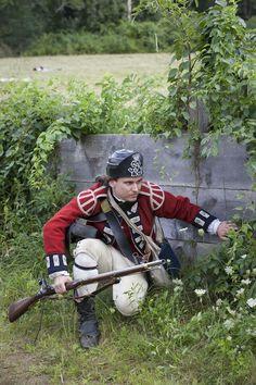 In the battle at Redcoats & Rebels Revolutionary War re-enactment at Old Sturbridge Village.