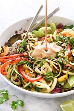 Thai Zucchini Noodle and Quinoa Salad | foodiecrush.com