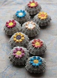 Linen pincushion crochet motif by namolio on Etsy