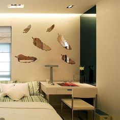 Feather Mirror Wall Stickers Home Decor Art Decal Wall Stickers for Kids Room Living Room Decorating Mural Decoration - affordable home livingroom farmhouse decoration ideas Mirror Wall Vinyl, 3d Mirror Wall Stickers, Wall Stickers Home Decor, Wall Stickers Murals, Vinyl Wall Decals, Mural Wall, 3d Wall, Mirror Crafts, 3d Home