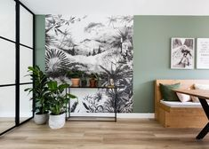 Panoramic wallpaper a must for interior decoration PLANETE DECO a homes world Home Living Room, Interior Design Living Room, Living Room Decor, Bedroom Decor, Kitchen Interior, Wall Decor, Exterior House Colors, Interior And Exterior, Bedroom Green
