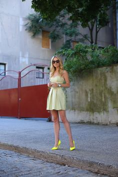 Atlantic-Pacific: summer spots I Polka dot Dress by ASOS with Neon Shoes by Kate Spade