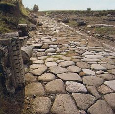 Long stretches of intact  Roman road still remain on the pilgrimage route to Santiago de Compostela.