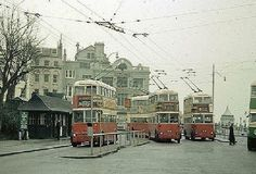 Trolley buses at the Old Steine in Brighton East Sussex England Brighton East Sussex, Brighton And Hove, Plan A Day Out, Images Of England, City By The Sea, Bus Coach, London Bus, Bus Station, Days Out