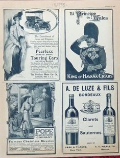 1904 life magazine advertisement  pope bicycles  peerless cars  el principe de gales  Illustration