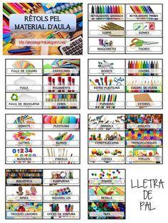 Idees Magistrals: Rètols pel material d'aula Classroom Organisation, Classroom Rules, Classroom Decor, Classroom Management, Reading Activities, Art Activities, Class Labels, Speech Room, School Staff