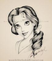 Belle Portrait BnW by MoonchildinTheSky