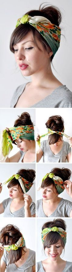 Head Scarf Tutorial- 15 Cool Headwrap Scarf Tutorials for Summer Try out these innovative bandana hairstyles and tell us which one fits your style the most. We collected the only the best tutorials with Bandana. Scarf Hairstyles, Summer Hairstyles, Pretty Hairstyles, Latest Hairstyles, Hairstyle Ideas, Bandana Hairstyles For Long Hair, Hairstyle Tutorials, Simple Hairstyles, Everyday Hairstyles