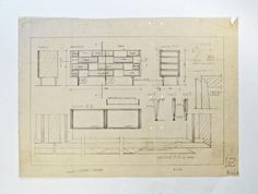 Gio Ponti, cassettone anni Cinquanta, disegno tecnico