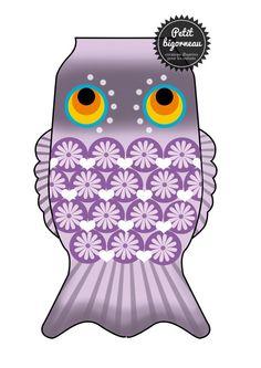 Printable Koinobori purple