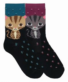 Love this Blue & Magenta Dot Cat Two-Pair Crew Socks Set by Davco on #zulily! #zulilyfinds