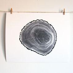 Natural Tree Ring Art - Digital Illustration - 8x10 Tree Rings - Archival Print. $30.00, via Etsy.