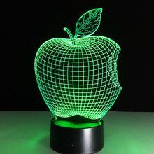 Dekorasi rumah 1 piece 3d apple mood lampu malam lampu akrilik kayu bulbing cahaya untuk kamar tidur