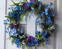 Spring Wreath Summer Wreath by IndigoWreaths on Etsy