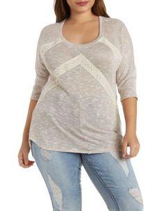 Plus Size Crochet Trim Top