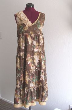 Eco Fashion Floral Brown/ Baby Doll Dress/ Prairie by KheGreen, $42.00