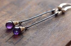 Purple Amethyst Long Dangle 14K Gold Filled Wire door PallasGem, $44.00