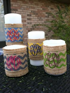 Love, love love these!!!!    Chevron Monogrammed Burlap Candle Wraps by EmmabellasDesigns, $10.95