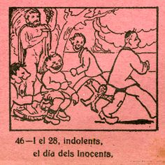 """Gravat del dia dels innocents de l'auca """"Calendari del valencià"""" (1939) de la Biblioteca de R. Gayano Lluch reeditat l'any 1956 per la Falla Joaquín Costa. CA 28.16"""