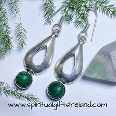 Malachite Waterdrop Gemstone Crystal Earrings Sterling Silver