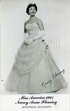 1961 Miss America Nancy Anne Fleming Montague Michigan Real Photo Postcard