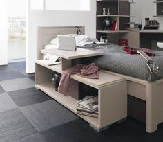 TACTIL - Teenager bedroom range. Bed / Multimedia unit / Bookcase / Desk in Cocolate and fabric finishes.